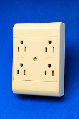 Leviton White 4-Outlet Adapter Tamper Resistant 3-Wire Grounding 15A-125V