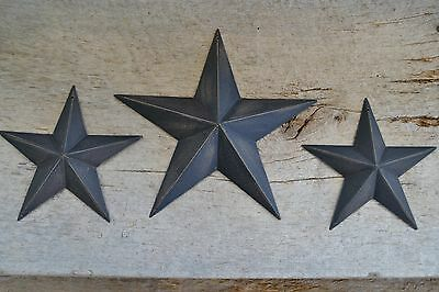 "Set of 3 ~ 8"" 5.5""  BLACK BARN STARS Metal Tin  Primitive Country 5 1/2"""