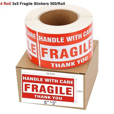 4 Rolls 2000 500/Roll LARGE 3x5 Fragile Stickers Handle With Care Shipping Label