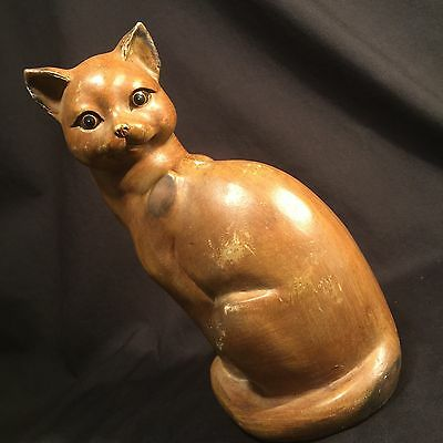 Vintage Cat Statue Hand Carved Wood Kitten Figure PRIORITY MAIL