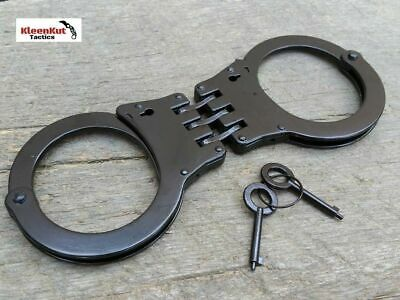 NEW BLACK Handcuffs  Hinged Double Lock Security W/ 2 KEYS Heavy Duty Police