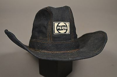 Vintage Pepsi Cola Advertising Denim Cowboy Hat M/L