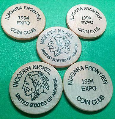 Lot of 5 1994 Expo Niagara Frontier Coin Club Wooden Nickels