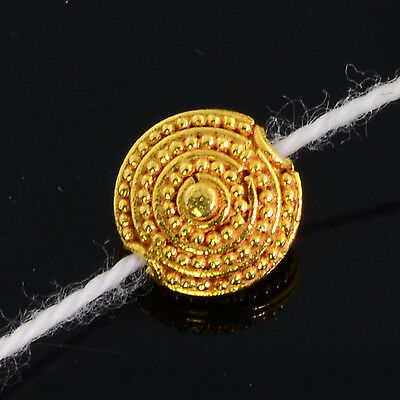 18k Solid Yellow Gold 8mm Fancy Granulation Coin Spacer Finding Bead