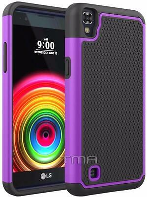 Fits LG X Power Case Rugged Rubber Shockproof Impact Hybrid Hard Cover - Purple