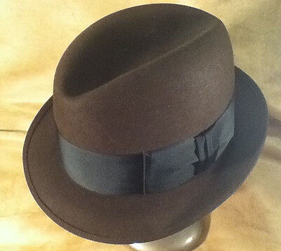 Vintage Brown Mallory Trilby Fedora -- Center Dent -- Sz 6 7/8 -- Exc Condition!