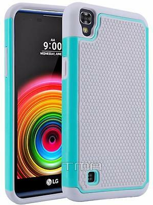 Fits LG X Power Case Rugged Rubber Shockproof Impact Hybrid Hard Cover - Teal