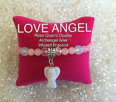 Code 230 Archangel Rose Quartz n Opalite Infused Bracelet Heaven Earth Spiritual
