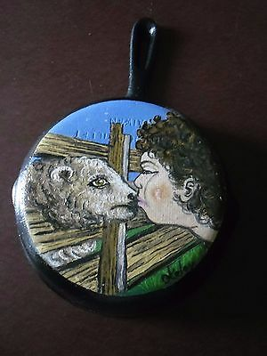 Cast iron fry pan with hand painted Sheep and Shephard