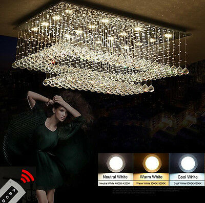 Creative Two-tone Dimming LED K9 Crystal Chandelier Ceiling Light Fixtures #6726