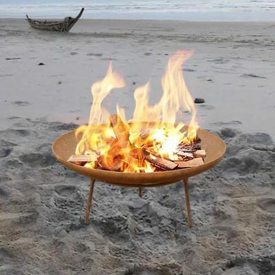 Outdoor Camping Fire Pit 3mm Thick 60cm Bowl Open Fireplace Patio Heater