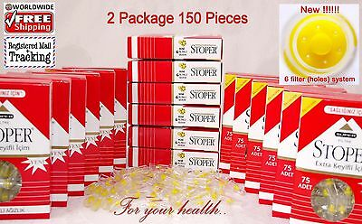 150 Pieces!!! Cigarette Filters - Tar Blocking -  Stoper Tar Gard 2 Packs