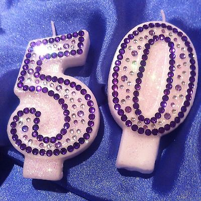 Purple Diamanté Birthday CANDLE (any two digit number)Topper Party FREE POST