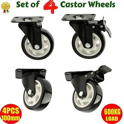 4 PCS Heavy Duty 100mm Rubber Swivel Castor Wheels Trolley Caster Brake 600KG
