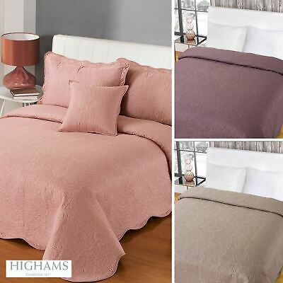 Luxurious Embroidered Vintage Bedspread Comforter Blanket Throw Duck Egg White