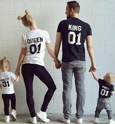 Couple T-Shirt King 01 & Queen 01 & Princess & Prince - Family Love Matching Tee