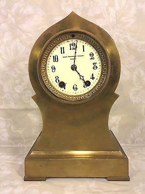 Ant Seth Thomas Brass or Bronze Case Clock Barrel Pendulum Porcelain Face Runs