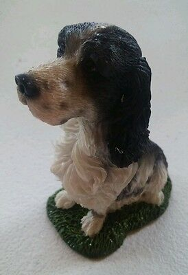 Springer Spaniel Mini Resin Hand Painted Dog Figurine Statue Blk NEW IN BOX NICE