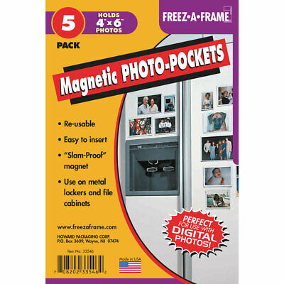 NEW 5 Pack Freez A Frame 4x6 Magnetic Photo Pocket For 4x6 Photos