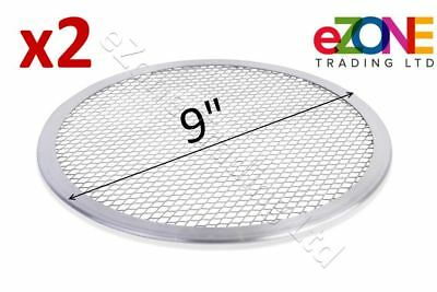 2 X Aluminium Pizza Baking Tray 9-inch Flat Screen Wire Mesh Food Crisper