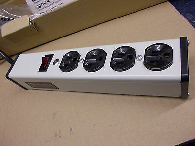 Heavy Duty 20 Amp 4 Outlet Power Strip with 15' 12AWG cable, Wiremold, NIB