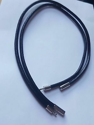 3Mm Black Real Leather Choker Necklace Cord With Bayonet Clasp