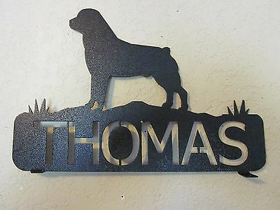 Rottweiler  Mailbox Topper (Your  Name) Steel Black Powder Coat Finish