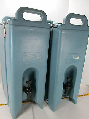 Lot of 2 Cambro Insulated Drink Dispenser 500LCD 4.5 Handles Blue Hot/Cold S