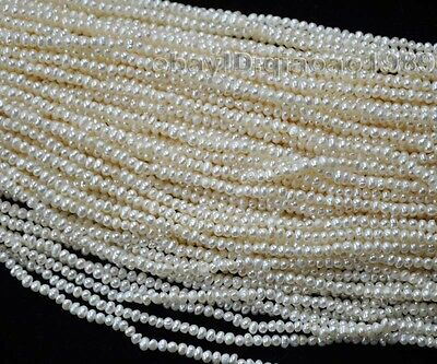 wholesale 20 Strands natural white 3mm freshwater pearl strings free shipping