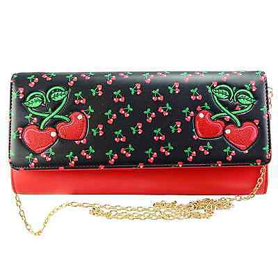 Banned Cherry Clutch Purse Rockabilly Pin Up Cherries Retro 50s 60s Vintage
