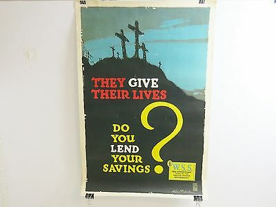 Original Ww1 They Give Their Lives Litho War Propaganda Poster