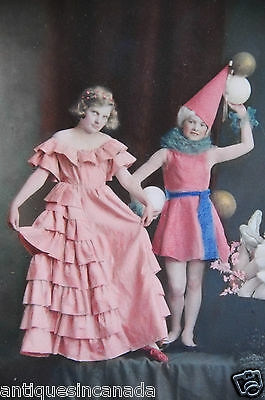 Very Large Hand Tinted Real Antique Photo Victorian Girls Signed Costumes Dress