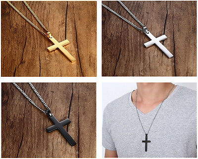 24'' MEN Fashion Stainless Steel Cross Pendant Chain Necklace Gold Black Silver