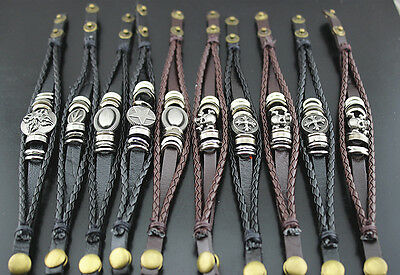 New Style Mixed Lots 25str Leather Mix Pendents Trendy Men's Cool Bracelet