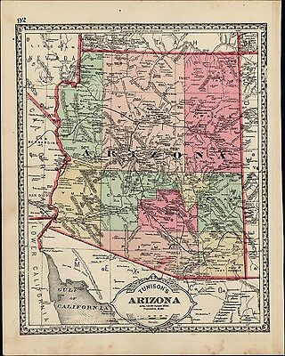 Arizona early state map c.1882 hand colored interesting & uncommon old map