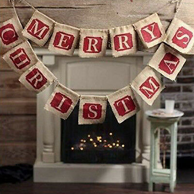 Merry Christmas Burlap Flags Hanging Banner Bunting Party Tree Wall Decor