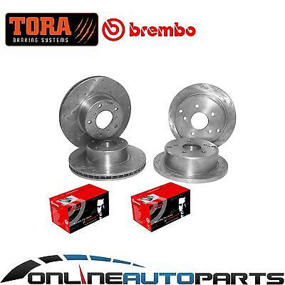 4 Front+Rear Slotted+Drilled Disc Rotors + BREMBO Brake Pads Commodore VT to VZ