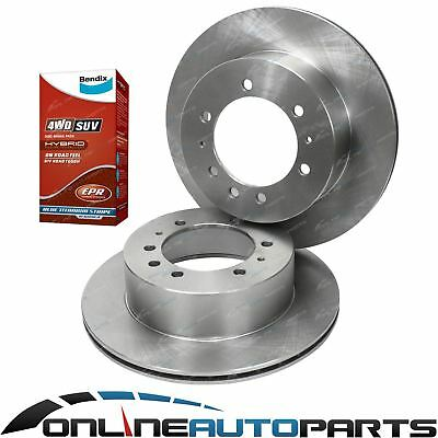 2 Rear Disc Rotors + Bendix 4wd Brake Pads fit Nissan Patrol GU Y61 1998-2016