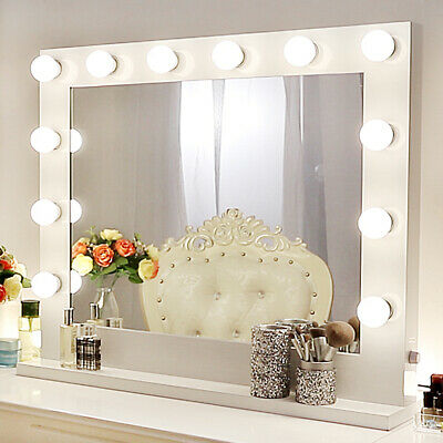 Hollywood Lighted Makeup Vanity Mirror Aluminum Dimmer White+FREE 14 LED bulbs