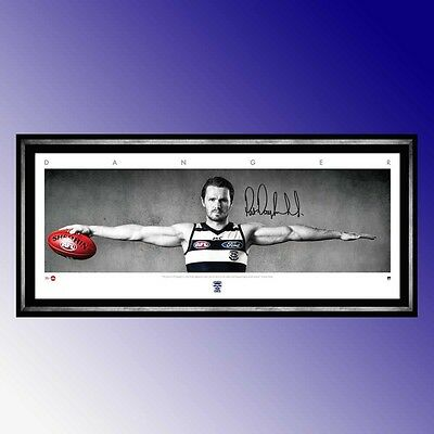 Geelong Cats Patrick Dangerfield Signed Framed Official Afl Wings Danger Print