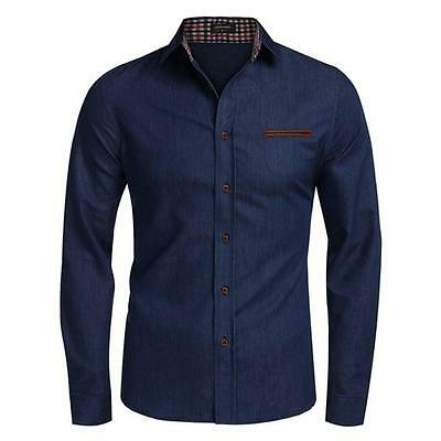 New Fashion Men's Stylish Casual Shirts Slim Fit Long Sleeve Dress Shirts Tops