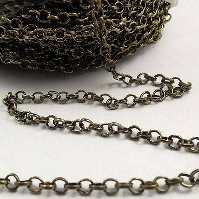 4M Vintage Style Bronze Iron Unfinished Chain Handmade Necklace Jewelry Finding