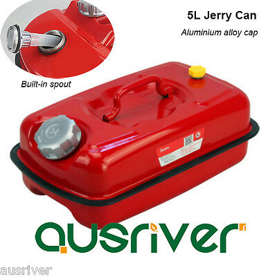 Red 5L Portable Jerry Can for Boat/4WD/Car/Camping Petrol/Fuel Built-in Spout