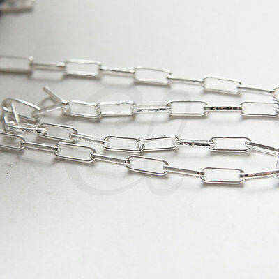 212QDF01 One Foot Oxidized Silver Plated Brass Base Rectangle Cable Link Chain