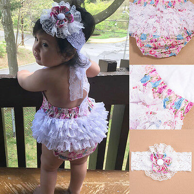 Newborn Infant Baby Girls Romper Jumpsuit Lace Ruffle Begonia Bodysuit Clothes