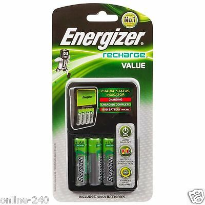 New Genuine Energizer Recharge Value (Aa - Aaa) Battery Charger Au Plug-In 240V