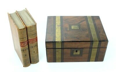 Antique Victorian Mahogany Inlaid Writing Slope Stationery Box [PL2361]