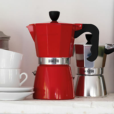 La Cafetiére RED Aluminium Espresso Pot Stove Top Italian Coffee Maker Moka