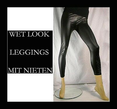 Sexy Wet Look Leggings MIT NIETEN GOGO Lack Latex Leder Optik Leggins braun T38