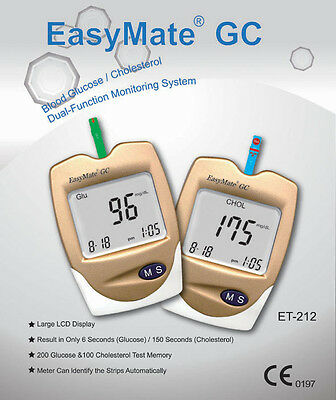 Cholesterol Test - Complete Kit with strips - also tests Glucose - EASYMATE